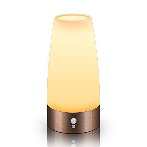 Aappy Nachtlampje met bewegingsmelder, werkt op batterijen, draagbaar, voor nachtkastje, slaapkamer, hal, badkamer, keuken, woonkamer