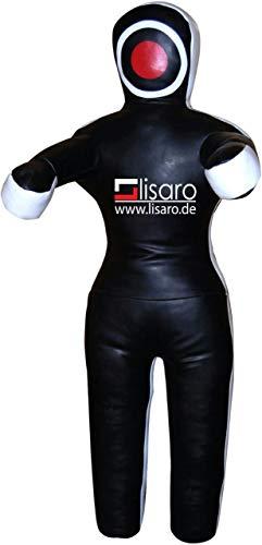 Lisaro Wurfpuppe Ringerpuppe Judopuppe Ringerdummy Puppe Werfen Bodenkampf MMA Ringen aus Kunstleder (145) cm UNGEFÜLLT Farbe: schwarz-weis