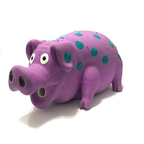 WantChew Latex Dog Squeaky Chew Toys, Oink Oink Pig 8.3' with Blue dot Stuffed with Cotton.