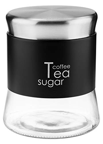 KADAX Glasbehälter, Behälter für Kaffee, Blättertee, Kaffeebehälter, Teebehälter, Zuckerbehälter, Frischhaltedosen, Vorratsdosen (750ml, schwarz)