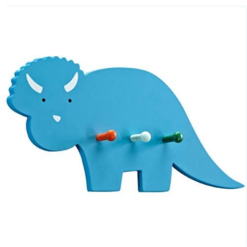 Patères pour manteaux crochet de dinosaure porte derrière le crochet de clé de mur crochet de salle de bain patère chambre d'enfants (Color : Blue, Size : 46x21.5x4.5cm)
