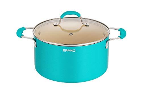 EPPMO 5.5L/24cm Cazuela Antiadherente de Cerámica con Tapa, Grande Olla Azul de Aluminio para Lavavajillas y Horno, Apta para Todo Tipo de Cocinas Incluido Inducción