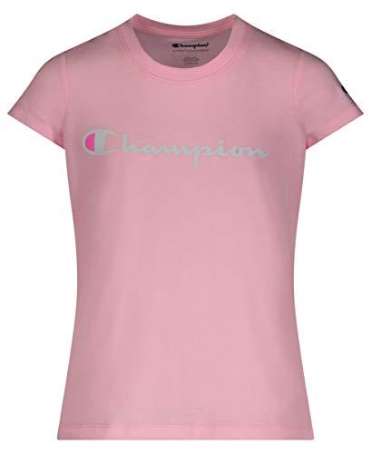 Champion Girls Heritage Short Sleeve Script Logo Tee Shirt Big and Little Girls (Medium, Pink Candy Script)