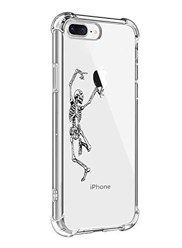 Alsoar Funda Compatible para iPhone 7 Plus,iPhone 8 Plus Ultra Delgada Ligera Transparente Silicona TPU Gel Suave Carcasa Elegante Patrón Lindo Bumper Anti-Rasguño Protector Caso Case (Cráneo)