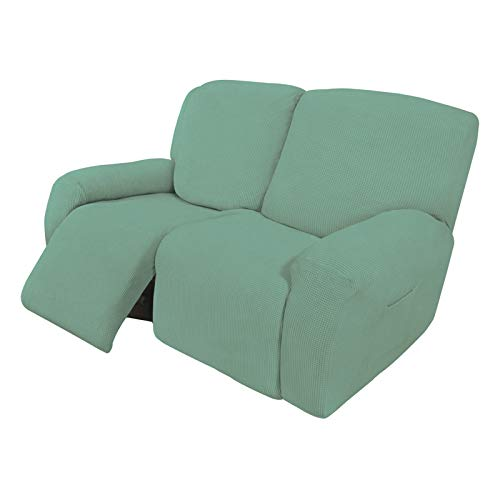 Easy-Going 6 Pieces Recliner Loveseat Stretch Sofa Slipcover Sofa Cover Furniture Protector Couch Soft with Elastic Bottom Kids, Spandex Jacquard Fabric Small Checks Cyan