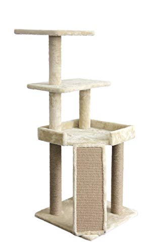 Amazon Basics Medium Platform Cat Tree Tower With Scratching Post And Ramp - 25 x 22 x 26 Inches, Beige