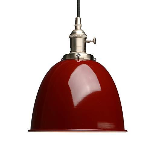 Phansthy innen Modernes Deckenhalbkreis mit Metall-Schirm Pendelleuchte Hängeleuchte Vintage Hängelampen Hängeleuchte Pendelleuchten Loft-Pendelleuchte im Landstil (Rot)