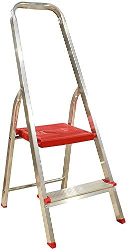 Escaleras de 2 peldaños Plegables de Aluminio Muy Ligero y con Gran Resistencia, Patas y Plataforma Antideslizantes, escaleras Ideales para Cocina Pintura Tienda Obra (2 Peldaños)