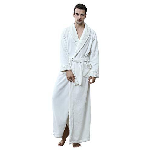 HDUFGJ Herren Bademantel Nachthemd Flanell Winter Verdicken Langarm V Kragen mit Taschen, Kapuze und Bindegürtel NachtwäscheM(Weiß)