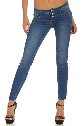 Sublevel Damen Slim Leg Stretch Jeans LSL-338 Röhre mit sichtbarer Knopfleiste, schmales Bein Dark Blue Skinny S