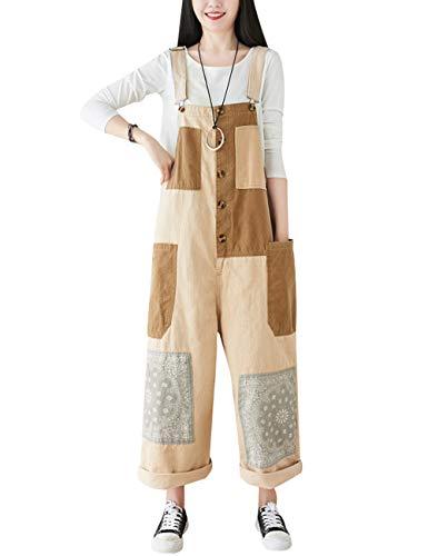 Bigassets Dames Contrasterende kleur Wijde jumpsuits met wijde pijpen Denim tuinbroek overall