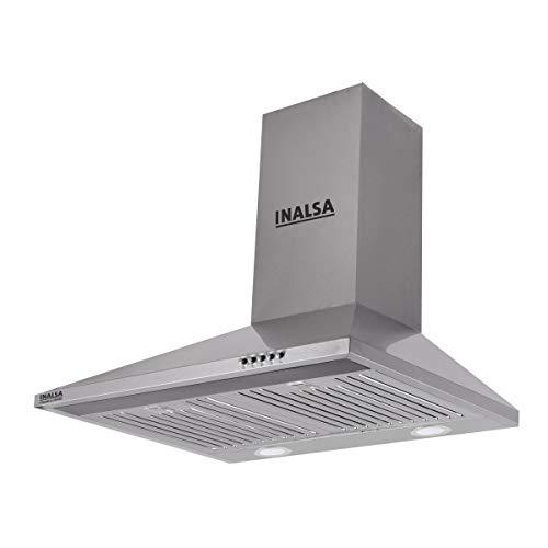Inalsa 60 cm 875 m³/hr Pyramid Kitchen Chimney (Classica 60SSBF, Baffle Filters, Grey)