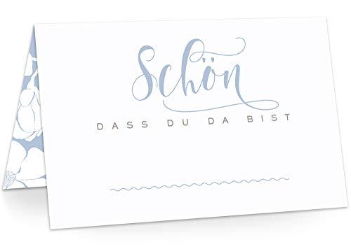 KAWAI-KAMI Tischkarten Platzkarten Namenskarten für Hochzeit Geburtstag Feier Taufe Kommunion Konfirmation Firmung Jugendweihe, 50 Stück Premium Qualität, Blüten-Dekor, Dusty Blue (Blau)