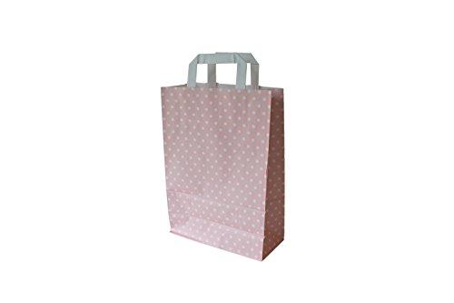 Papiertragetaschen mit Flachhenkel Punkte ROSÉ - Verschiedene Größen und Mengen (22 + 10 x 31 cm, 50 Stück)
