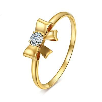 Bishilin Anillo de Mujer 750 Anillo de Compromiso, Nudo de Lazo 0.08ct Diamante Anillo de Alianza de Boda de Compromiso de Aniversario Regalos para Cumpleaños Navidad Orotamaño: 12