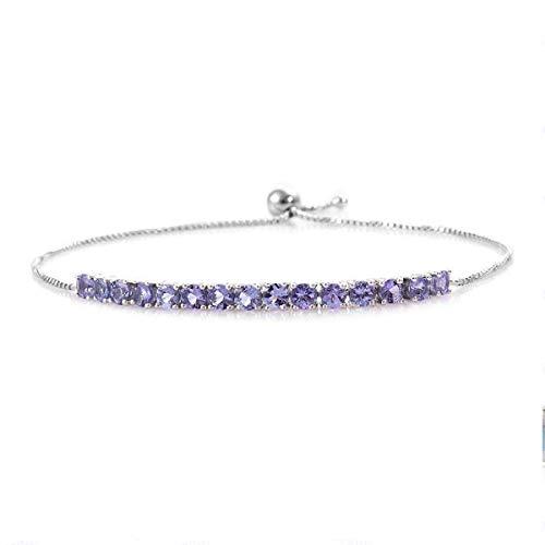 Adjustable Platinum Plated 5.5 Cts Round Cut Tanzanite Gemstone 925 Sterling Silver Bridal Wear Tennis Bracelet