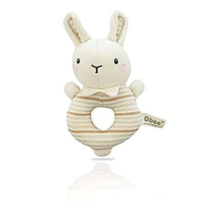 VARANO Soft Baby Rattle for Newborns, Plush Stuffed Rabbit Rattle Shower Gifts Baby Toys for 0 3 6 9 12 Months Boys & Girls