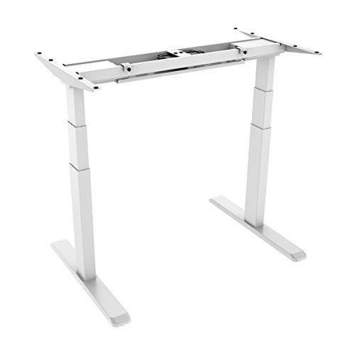 KIMEX 150-2301 Structure de Bureau électrique, Longueur réglable 100-170 cm, Hauteur réglagle 62-128 cm, Coloris Blanc