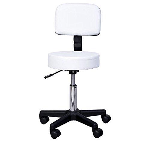 HOMCOM Massage Beauty Salon Spa Chair Stool Swivel Gas Lift Manicure Tattoo Stools Chair White