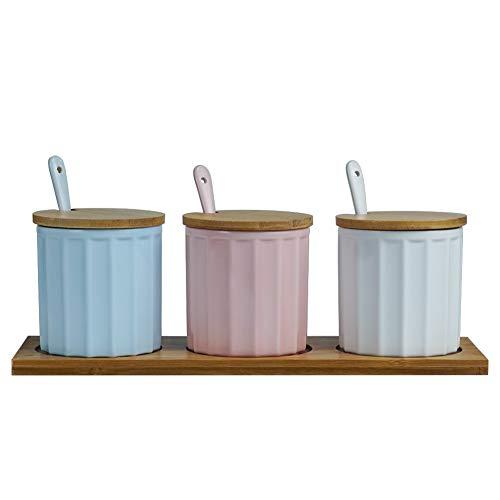 Juego de 3 cuencos de cerámica para condimentos, tarros de especias, condimento con tapa cuchara y bandeja de madera Azul, rosa, blanco.
