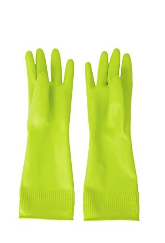DABOGOSA Mamison Reusable Waterproof Household Dishwashing Cleaning Rubber Gloves, Non-Slip Kitchen Glove (Green, Medium)