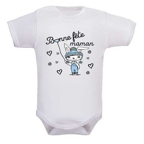 bodybebepersonnalise.fr Body garçon, bodies manches courtes, brassière enfant, cadeau, mère, maman, fête des mères, pressions à l'entrejambe - blanc, 3-6 mois