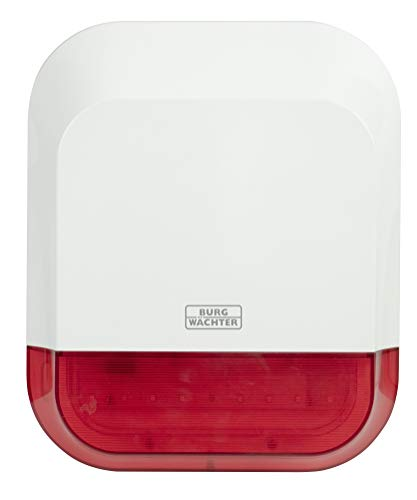 Burg-Wächter Alarmanlage außen/innen, Alarm für das Haus, batteriebetrieben, mit BURGprotect Smart Home kompatibel, Sirene 2151, Weiß