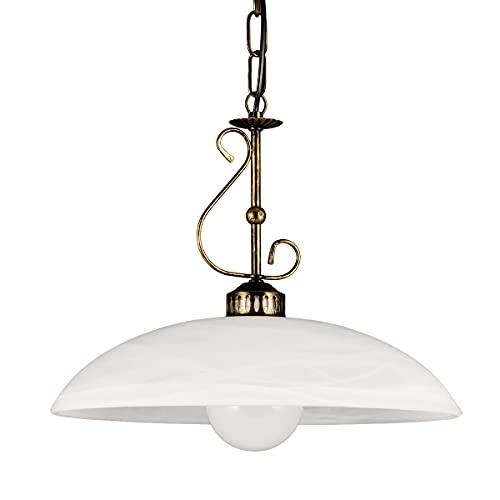 Helios Leuchten 203361 Pendellampe Landhaus | LED Hängelampe Leuchte | Pendelleuchte Lampe Alabasterglas | Küchenlampe rustikal | Deckenlampe