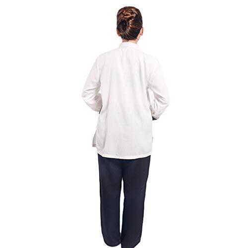LINFENG Algodón Lino Tai Chi Colocar por Chino Tradicional Espiga Traje Marcial Letras Ropa Camisas Pantalones (Color : White, Size : Large)