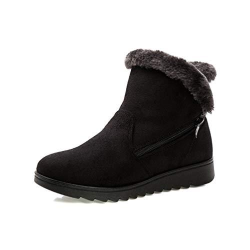 Botas De Nieve Básicas De Invierno para Mujer Pisos De Cremallera De Punta Redonda De Gamuza Zapatos De Plataforma Confort Cómodos De Terciopelo Botines Casuales