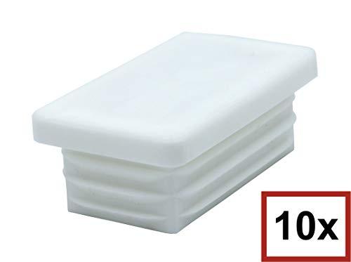 10 Piezas de tapas rectangulares de plástico para tuberías, tamaños elegible de 20x10mm a 180x60mm, tapón/ contera/ protector/ funda (medida exterior: 80x40mm, espesor de pared: 1,5-2mm, Blanco)