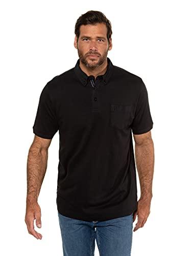 JP 1880 Herren große Größen L-8XL bis 8XL, Poloshirt, extra weicher Pima Cotton, Buttondown-Kragen, Brusttasche, Halbarm, schwarz 6XL 723208 10-6XL