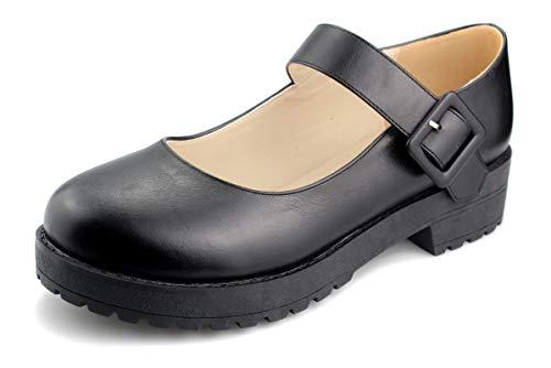 Sungtin Women Buckle Platform Shoes Chunky Mid Heel Mary Jane Shoes School Uniform Dress Shoes Black M 10.5