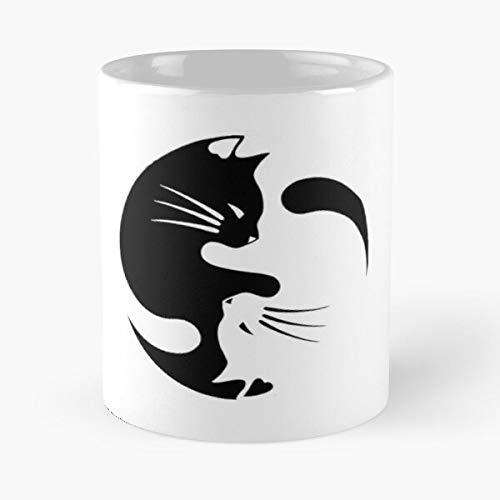 Cat Cute Yin Kittens Kitten Ying Tumblr Yang -Mug holds hand made from White marble ceramic printed trendy design
