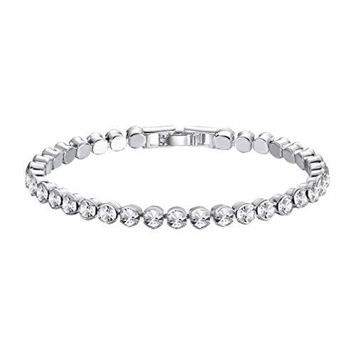 Happyyami 2 Stücke Zirkonia Klassische Tennis Armband Kristall Strass Weiß Rhodiniert Armreifen Hochzeit Schmuck (Silber)