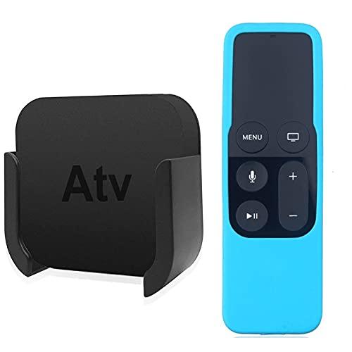 HYY-YY Para el soporte de soporte de montaje en pared de control remoto de Apple TV con estuche de protección de control remoto Silicone Siri para Apple TV 4º 4K (Color : Blue)