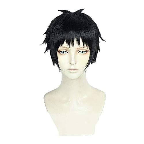 Shinra Kusakabe Fire Force Pelucas Cortas Negro Resistente al calor Pelo sintético Traje de anime Cosplay Peluca + Gorra de peluca Talla única Shinra Kusakabe