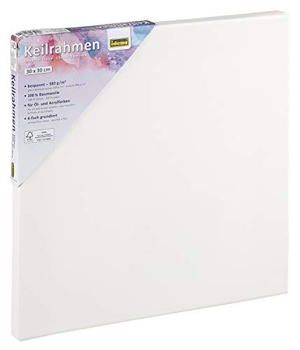 Idena 60031 Keilrahmen mit Leinwand aus 100% Baumwolle, 380 g/m², für Ölund Acrylfarben, 30 x 30 cm, weiß