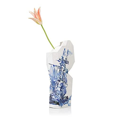 Tiny Miracles - Nachhaltiges Papier Vase als toller Deko Überzug - Delft Blau - Groß