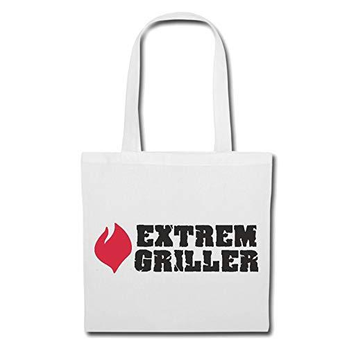 Tasche Umhängetasche EXTREM Griller - Grillen - Grill - BBQ - Steak Einkaufstasche Schulbeutel Turnbeutel in Weiß