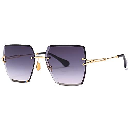 LUBENWEI Gafas de Sol cuadradas sin Montura, Gafas de Sol de Color de gradiente, Gafas de Moda de Europa y América (Color : Deep Purple)