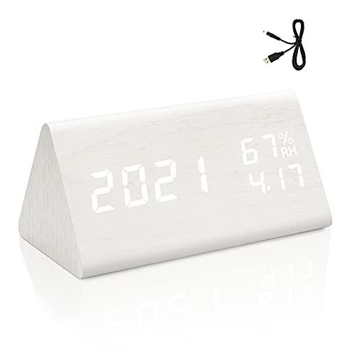 yumcute Reloj Despertador Digital,Reloj Mesita De Noche Tiene Función De Control De Voz,Temperatura y Humedad,3 Juegos De Alarmas,Fecha,4 Niveles De Brillo Ajustables(Blanco)