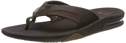 Reef Leather Fanning, Chanclas Hombre, Marron Oscuro, 46 EU