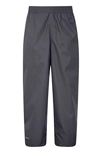 Mountain Warehouse Protectores Impermeables para niños Pakka - Pantalón con Costuras Selladas - Tobillo Ajustable - Pantalones Plegables para Lluvia - para la Escuela Negro 98