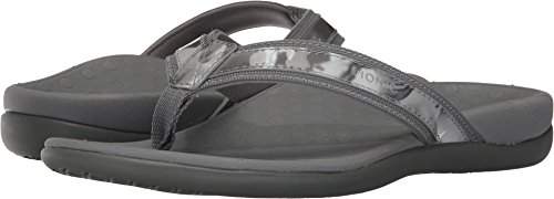 Vionic Women's Tide II Toe Post Sandal - Ladies Flip Flop with Concealed Orthotic Arch Support Grey Floral 8 Medium US