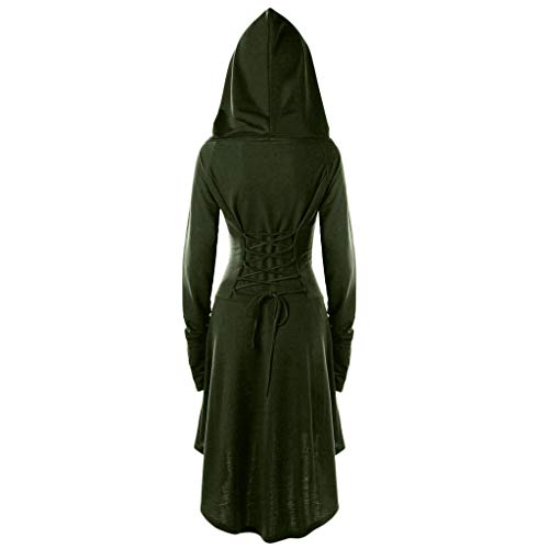 For Sale! Crazyfashion Women Costume Lace Hooded Vintage Pullover Bandage Long Dress Cloak Army Gre...
