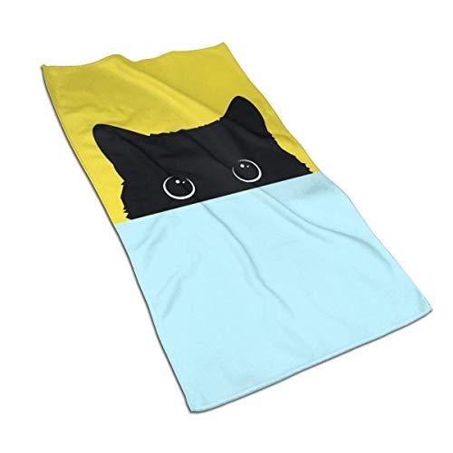 Toalla de mano suave divertido gato negro verde amarillo toalla de baño toalla para el hogar/la playa/yoga 27.5 x 17.5 pulgadas