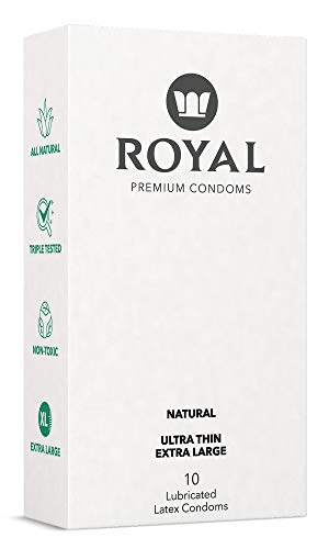 Royal XL Ultra Thin Condoms - Lubricated with Unflavored Edible Lubricant - Strong, FDA Approved Non-Toxic Latex - All Natural, Organic, Cruelty Free, Vegan, Premium 10 Pack (X-Large)