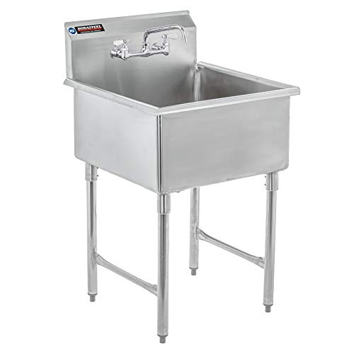 Stainless Steel Prep & Utility Sink - DuraSteel 1 Compartment Commercial Kitchen Sink - NSF Certified - Single 24' x 24' Inner Tub with No Lead Faucet (Restaurant, Kitchen, Laundry, Garage)