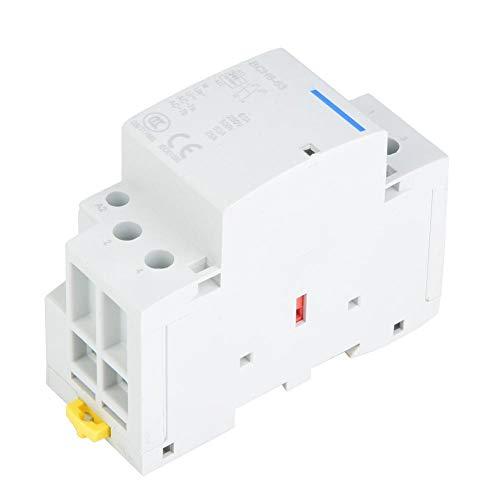 63A 24V 220V/230V 50/60Hz AC Contactor, 2 Polos Riel DIN Contactor Hogar...